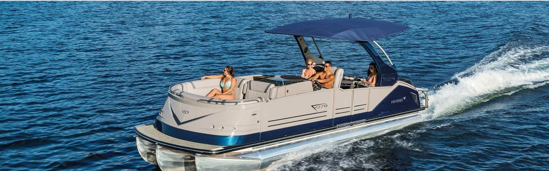 People on a pontoon boat